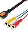 5 Fötter HDMI hane Ingång till 3 RCA Plug Video Audio AV-kabel adapter omvandlare Connector, Durable (svart, 1,5 M)