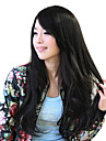 Synthétique de haute qualité capless longue perruque Natural Black Side Bang Perruques