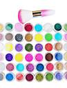 48-färg Glitter Pulver nagel konst dekorationer Med nagel konst Damma Brush