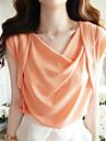 Femei dulce Orange neregulate Pleated Chiffon Bluza / Camasa