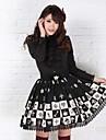 Kjolar Gotisk Lolita Prinsessa Cosplay Lolita-klänning Svart Tryck Lolita Medium längd Kjol För Dam Polyester