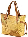 Erlen Kvinnors European Style Map Print Tote / ena axeln / Bag (Sreen Color)