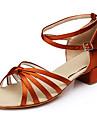 Kvinnors Satin Ankle Strap Latin Ballroom Dance Shoes Sandaler