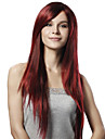 Capless Extra Long Straight Red Synthetic Wig Side Bang