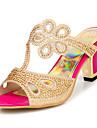 Konstläder Kvinnors Chunky Heel Slide sandaler med strass skor (fler färger)