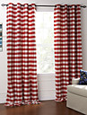 modern två paneler pläd / check röd sovrum bomull panelgardiner draperier