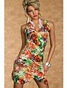 YSM Kvinnors Sexy V Neck Floral Ärmlös klänning
