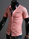 Bărbați rever contrast de culoare mâneci scurte Shirt