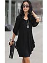 Stil coreeană femei Slim 3/4 Sleeve șifon Dress