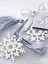 Söt Hollow Snowflake med tofsar 6,5 * 6,5 * 1 Metall bokmärken & Clips (Silver, 1st)