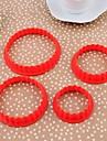 Plast Round Shape Cookie Mold Set med 4 Piece, 9.2x9.2x1.1cm (Random färg)