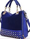 Erlen Kvinnors koreanska Style Rivet Kedja Tote / ena axeln / Crossbody Bag (Marinblå)