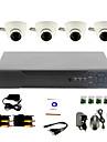Système de vidéosurveillance bricolage avec 4 caméras dôme d'intérieur pour Home & Office