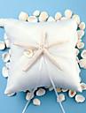 Beach Themed Starfish Design White Satin Ring Pillow