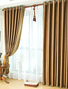 Two Panels Neoclassical Solid Brown Bedroom Polyester Blackout Curtains Drapes
