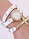 Koshi 2014 Kvinnors Vintage Cross Diamonade 3 Runda läder Watch (Vit)