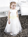 A-line / Princess Floor-length Flower Girl Dress - Satin / Tulle Sleeveless Scoop with Bow(s) / Draping / Sash / Ribbon