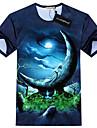 GEXY Mäns europeiska och amerikanska 3D Stereo Wild Månen Skriver T-tröja