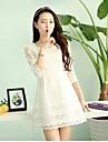Femei coreeană Organza 3/4 Sleeve Dress