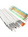 20PCS Nail Art Costumes (15PCS Art Peinture Nail Brush Kits 5PCS 2-Way Nail Art Dotting Kit outils)