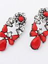 Kushang Retro Flower Gemstone Ear Studs (Röd)