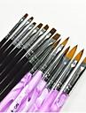 13 PCS Black & Color Purple Dessin Peinture Nail Art Pen & Pinceaux pour manucure Gel UV et acrylique Conseils False