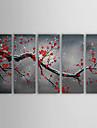 Peint à la main A fleurs/Botanique Cinq Panneaux Toile Peinture à l'huile Hang-peint For Décoration d'intérieur