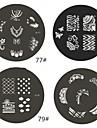 1 st M-serie Rundade abstrakt design Nail Art stämpel Stämpling Mall Plate No.77-80 (Blandade Mönster)