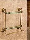 Etagère de Salle de Bain Bronze Antique Fixation Murale 40*12*40cm(15.74*4.72*15.74inch) Laiton / Verre Antique