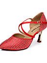 Kvinnors Satin Övre Buckle Latin Ballroom Dance Shoes Sandaler (fler färger) (Välj en storlek större)