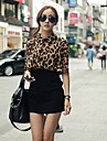 Femei rever gât Leopard despicare Batwing Sleeve Bodycon Midi Dress