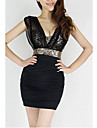 Femei Euramerican Sexy Sequin tifon fara spate Bodycon Mini Dress