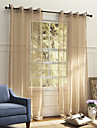 En panel Rustik Solid Beige Bedroom Polyester Sheer gardiner Shades