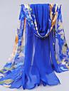Albastru înaltă calitate Soft șifon de flori de protecție solară lung Eșarfă