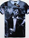GEXY Mäns europeiska och amerikanska 3D Stereo Wild somking Man Skriver T-tröja