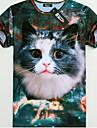 GEXY Mäns europeiska och amerikanska 3D Stereo Wild Cat Skriver T-tröja