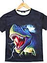 GEXY Mäns europeiska och amerikanska 3D Stereo Wild Hippo Skriver T-tröja