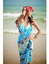 Femei elegant albastru colorat de imprimare profundă V șifon Bare Înapoi Gallus Beach Dress