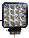 48W (16 * 3W) 2880LM 6000K Square Car LED arbetsstrålkastare Vattentät Spot Beam Lamp (DC9-32V)