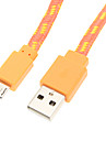 USB2.0 Micro USB Tissé câble (Orange 100cm)