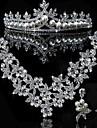 Elegant aliaj cu stras Și Pearl Set de bijuterii de nunta (Inclusiv Tiara, colier si cercei)