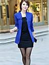 Femei Blazer Plus Size,Mată Manșon Lung Primăvară / Vară / Toamnă-Albastru / Roz / Roșu / Alb / Negru Subțire