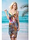 Femei sexy elegant de culoare de imprimare profundă V Bare Înapoi Gallus Beach Dress
