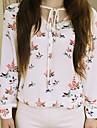 v bluza gât de imprimare pentru femei