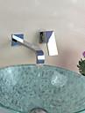 Nutida Väggmonterad Enda handtag Två hål in Krom Badrum Sink kran