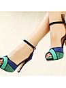 Chaussures femmes sandales tricolores peep toe en daim supérieures plus de couleur disponibles