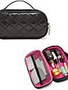 Portable High End Diamond Black PU Clutch Cosmetic Bag Makeup väska