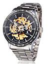 Bărbați Ceas de Mână ceas mecanic Gravură scobită Mecanism automat Oțel inoxidabil Bandă Luxos Argint