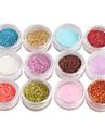 12-Color Glitter Ström Nail Art Dekorationer