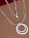Vilin kvinnors silver dubbel cirkel halsband